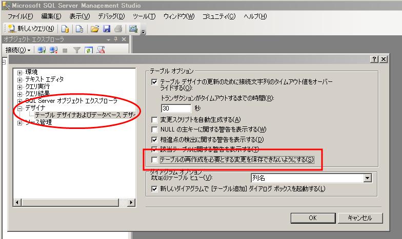 SQL Server オプション