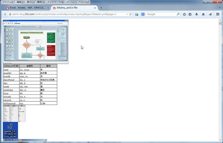 画像がリスト表示されたページ