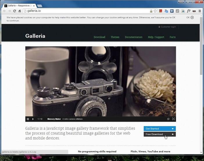 コンテンツスライダー「Galleria」の導入に必要なファイルのダウンロード
