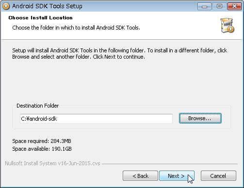 デフォルトパスが長いのでC:\android-sdkに変更