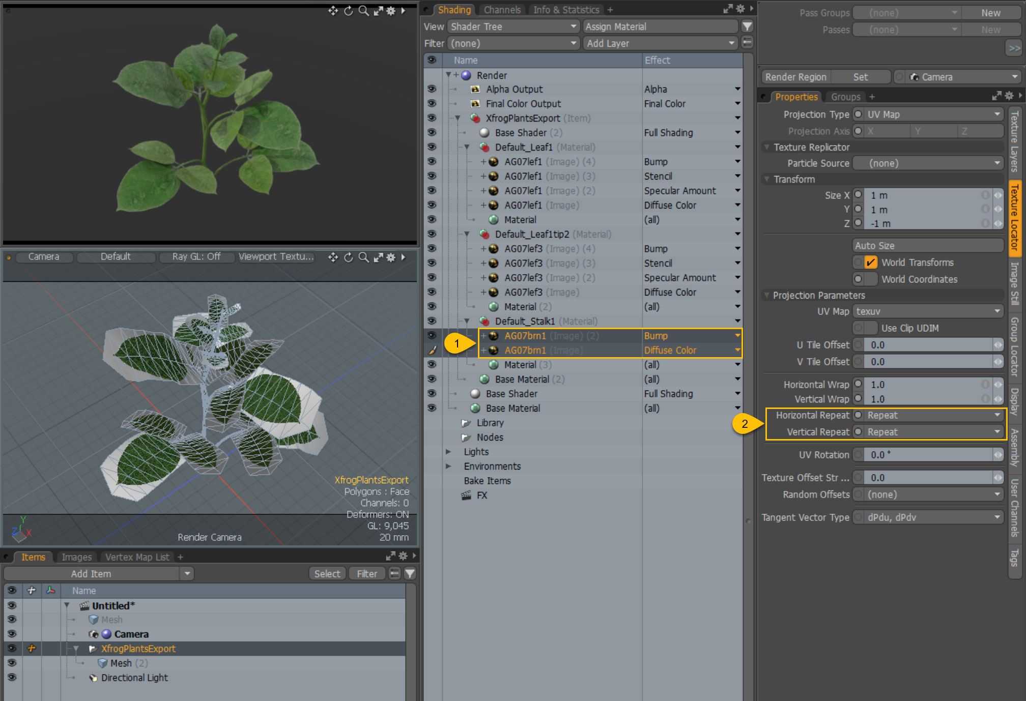 MODO Shader settings