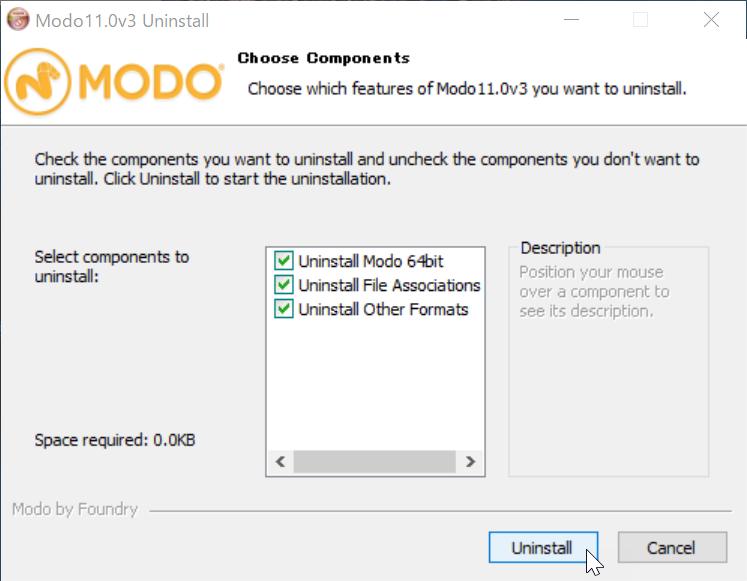 Uninstall MODO 11.0v3