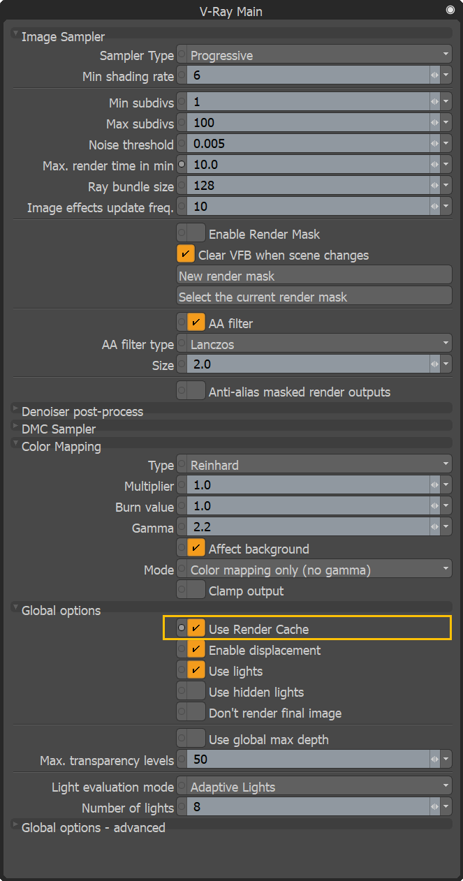 Use Render Cache