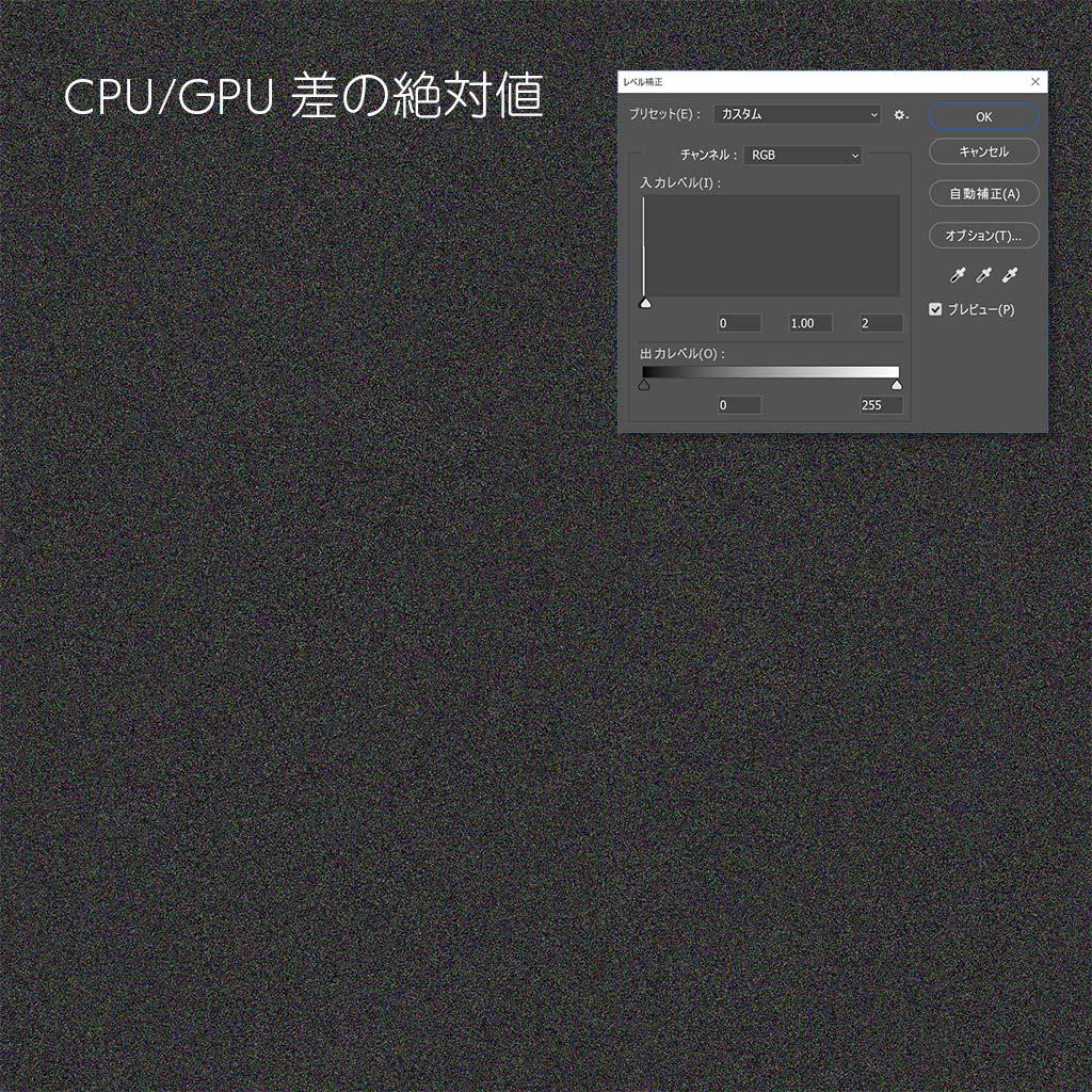 Diff CPU and GPU レベル補正