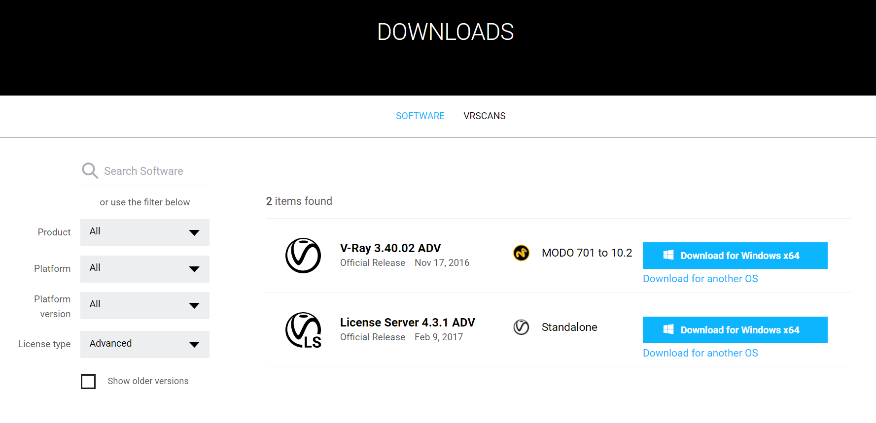 V-Ray for MODOのダウンロード