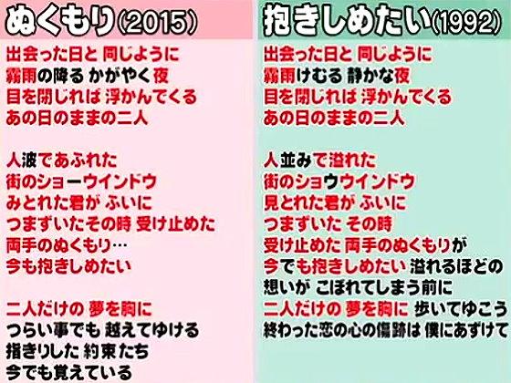 ワイドナショー画像 平浩二の「ぬくもり」とミスチルの「抱きしめたい」の歌詞の比較 2015年12月20日