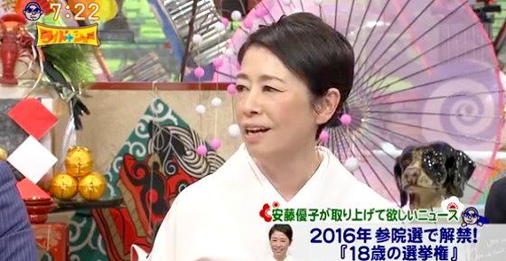 ワイドナショー画像 安藤優子「18歳選挙権に日本を変える唯一の希望を見出している」 2016年1月1日
