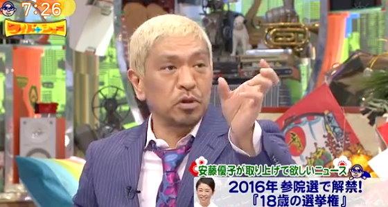 ワイドナショー画像 松本人志「投票用紙にまともな投票理由がわかる欄があるなら年齢制限なんて必要ない」 2016年1月1日