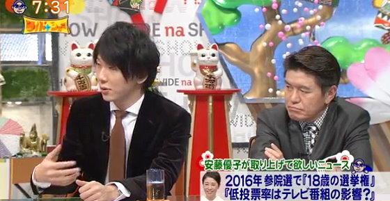 ワイドナショー画像 ヒロミ 古市憲寿「芸能人が政治のことをあまり語らないのは若者の政治意識が低下する一因」 2016年1月1日