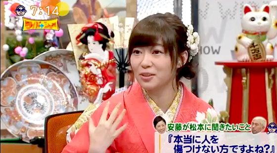 ワイドナショー画像 安藤優子が松本人志に「人を傷つけない」と言うが、指原莉乃は「顔が80位だと言われて傷ついた」と反論 2016年1月1日
