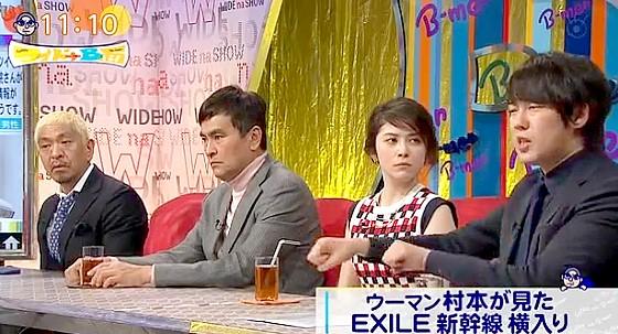 ワイドナショー画像 松本人志 石原良純 宮澤エマ ウーマン村本「EXILEが新幹線に乗る時に大パニック」 2016年1月31日