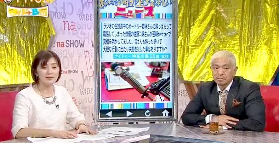 ワイドナショー画像 佐々木恭子アナウンサー 松本人志 ワイドナB面で視聴者の声を紹介 2016年2月7日