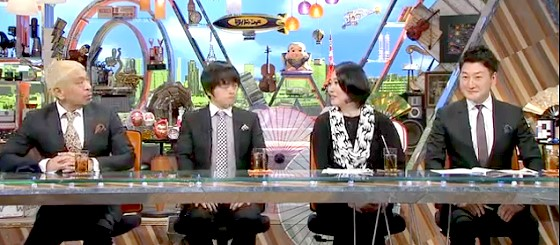 ワイドナショー画像 コメンテーターの衣装は黒でまとめ、東野幸治と山崎夕貴アナは灰色で統一 2016年2月7日