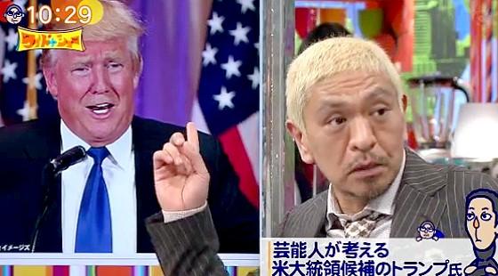 ワイドナショー画像 松本人志「トランプ氏の過激発言は本当に大統領候補になったらトーンダウンするはず」 2016年3月6日