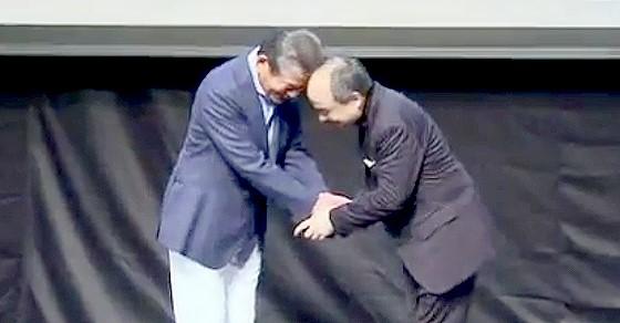 ワイドナショー画像 川淵チェアマンとソフトバンク孫正義代表が頭をぶつける 2016年3月20日