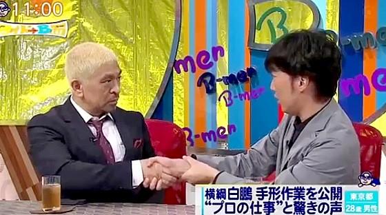 ワイドナショー画像 松本人志 スピードワゴン小沢一敬「甲本ヒロトはぎゅっと強く握る握手をする」 2016年4月24日