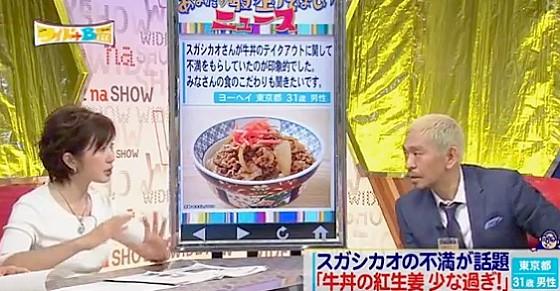ワイドナショー画像 ワイドナB面 安倍総理がゲストの後で牛丼の紅生姜の話題になり出演者から「小さい」の声 2016年5月1日