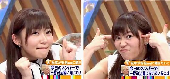ワイドナショー画像 安倍晋三首相から政治家向きと誉められ謎のポーズで有頂天の指原莉乃 2016年5月1日