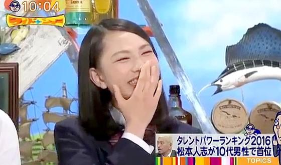 ワイドナショー画像 ワイドナ現役高校生の北村優衣がタレントパワーランキング1位の松本人志のイメージを紹介 2016年5月8日