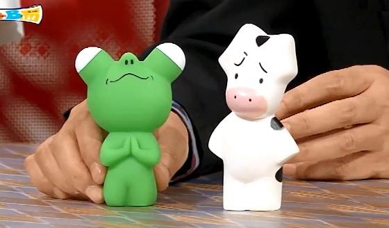 ワイドナショー画像 みうらじゅんのひとりサンリオであるヒトリロのキャラクター「牛」と「ホワッツマイケル富岡」 2016年7月10日