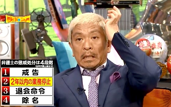ワイドナショー画像 大渕愛子弁護士の業務停止1ヵ月が厳しい処分だと聞き納得の表情を浮かべる松本人志 2016年8月7日