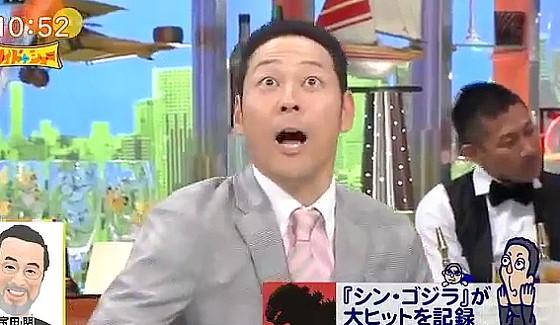 ワイドナショー画像 東野幸治がゴジラ映画にありがちな1シーンを真似 2016年8月21日