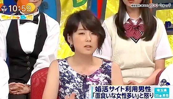 ワイドナショー画像 秋元優里アナが顔で男性を選ぶ婚活サイトについて紹介 2016年8月28日