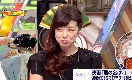 ワイドナショー画像 君の名はのヒットになぜか不満げな表情の加藤紀子は夫がライバル映画SCOOPの音楽を担当しているから 2016年10月30日