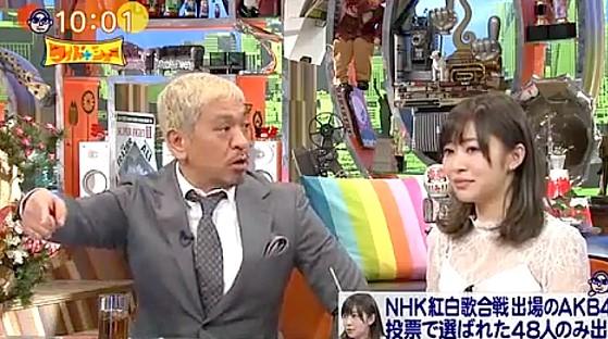 ワイドナショー画像 松本人志が指原莉乃にAKB紅白選抜で和田アキ子出場の可能性を示唆 2016年12月18日