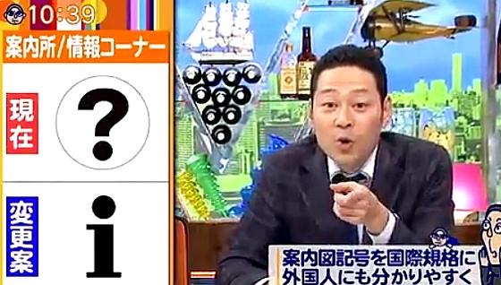 ワイドナショー画像 案内所のマークをクエスチョンマークからinformationのiへと変更する案を紹介する東野幸治 2017年1月8日