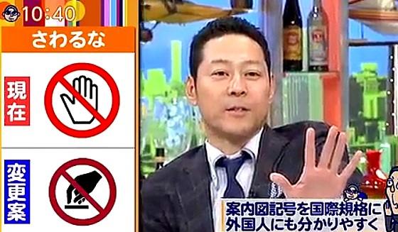 ワイドナショー画像 触るなのマークは外国人にとっては「来るな」の意味になることを説明する東野幸治 2017年1月8日