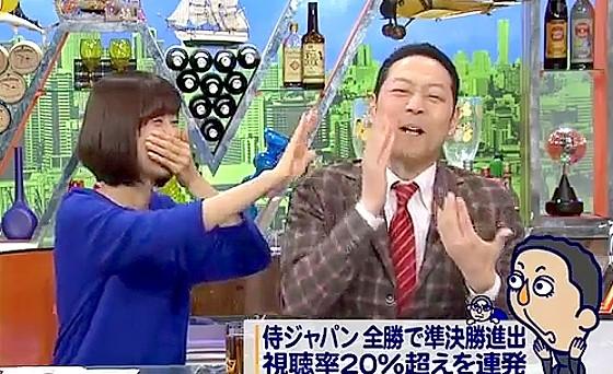 ワイドナショー画像 松本のボケに山崎夕貴アナが笑って東野にツバを飛ばす 2017年3月19日