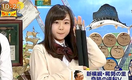 ワイドナショー画像 空手黒帯の女子高生・籠谷さくらがヌンチャクを持って登場 2017年4月2日