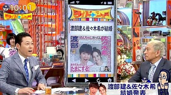 ワイドナショー画像 アンジャッシュ渡部&佐々木希の結婚のニュースを紹介する東野幸治と松本人志 2017年4月16日
