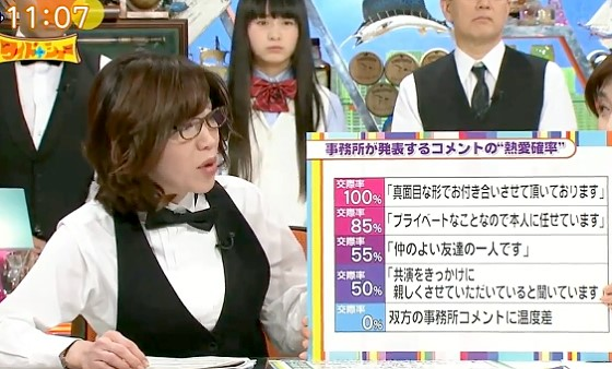 ワイドナショー画像 所属事務所のコメントでわかる恋愛確率を駒井千佳子が分析 2017年5月14日