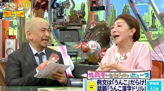 ワイドナショー画像 うんこ漢字ドリルの例文に大笑いする安藤和津 2017年5月28日
