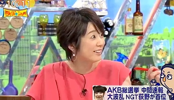 ワイドナショー画像 アイドルにはブスを散りばめるべきという松本の意見に驚いて聞き返す秋元優里アナ 2017年6月4日