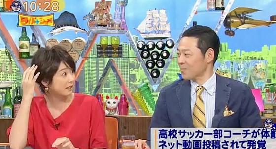 ワイドナショー画像 かつて角材で殴る体罰があったという話に「ケガしません?」と驚く秋元優里アナ 2017年6月18日