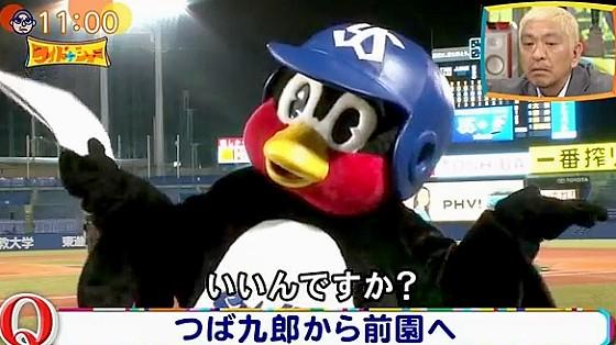 ワイドナショー画像 前園真聖に始球式をするよう提案する東京ヤクルトスワローズのつば九郎 2017年6月18日