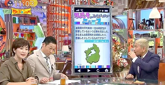 ワイドナショー画像 滋賀県の平均寿命が延びた要員の専門家による分析を佐々木恭子アナが紹介 2017年8月6日