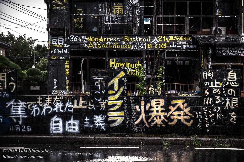 「奪われた自由主義」「インフラ・爆発」「息の根を止めるノド胸の手術」などと書かれた県道側の塀