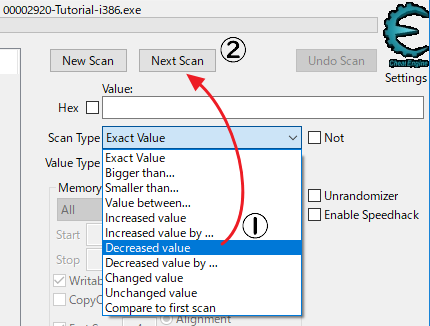 Cheat EngineのScan TypeをDecreased valueに変更