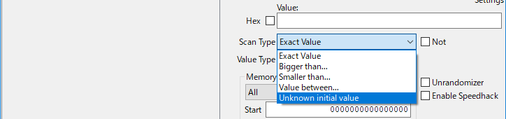 Cheat EngineのScan TypeをUnknown initial valueに変更