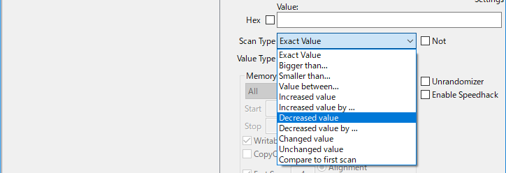Cheat EngineのScan TypeをDecreased valueに変更