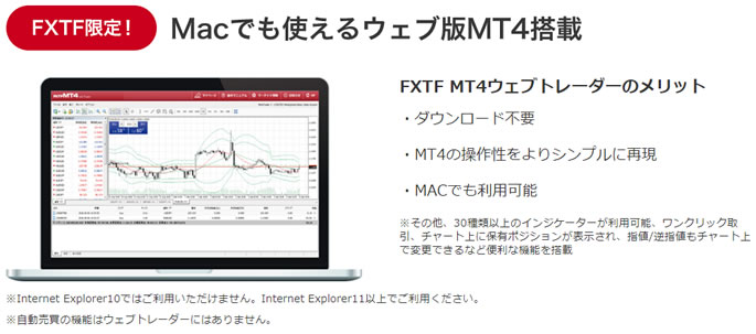 FXTD限定! Macでも使えるウェブ版MT4搭載