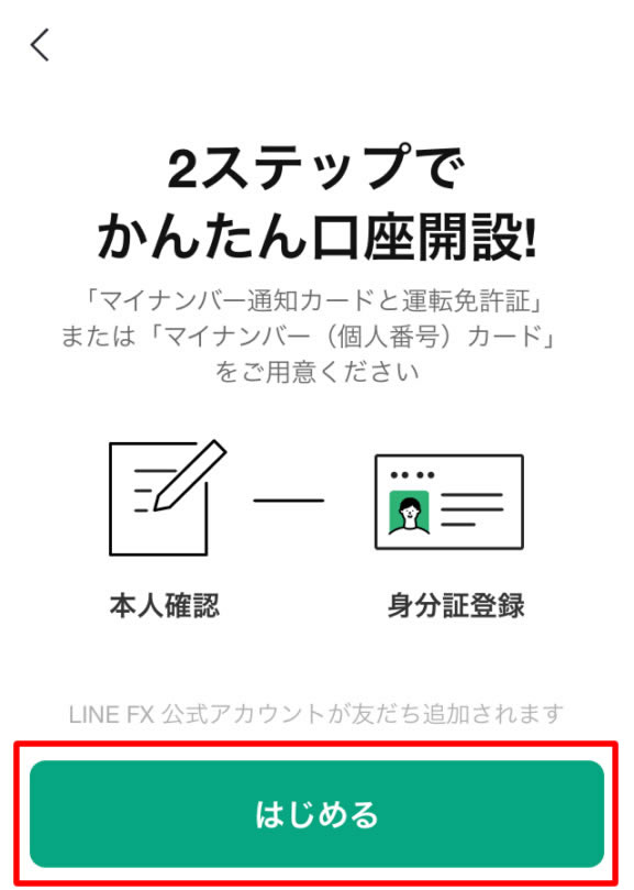 LINE FX口座開設方法